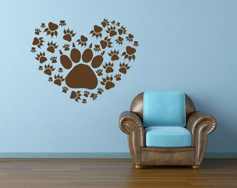 More colors. Animal Decal Heart Decal Paw Print ...  sc 1 st  Etsy & Paw print wall decal   Etsy