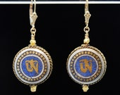 OM Symbol Gold and Lapis earrings with handmade Tibetan Brass inlay beads with 14k Gold Fill findings