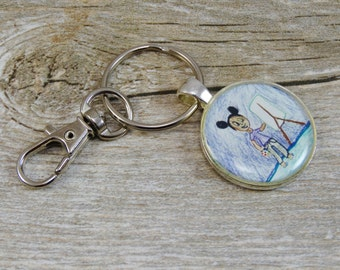 Child's Artwork Key Chain - Silver Plated Resin Circle Key Chain - Personalized Gifts