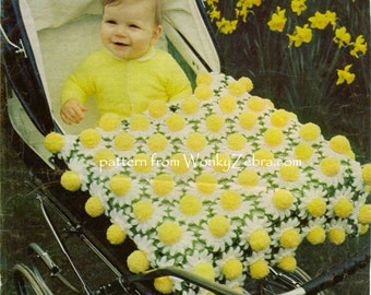 Vintage baby afghan Daisy Pompom Blanket Crochet Pattern PDF 678 from WonkyZebra