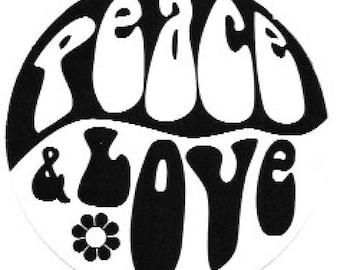 Peace & Love Sticker / Decal, Sixties, Flower Power, Retro, Hippie, Groovy