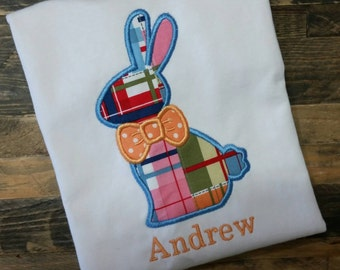READY TO SHIP - Boys Easter Shirt - Boys Bunny Shirt - Bowtie Bunny Shirt - Boys Bowtie Shirt - Boys Bunny Outfit - Easter Bodysuit