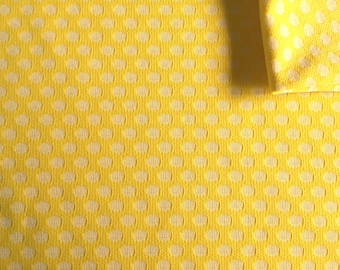 Vintage Fabric 70's Polyester, Yellow, White, Polka Dot, Material, Textiles (1.25 yards)