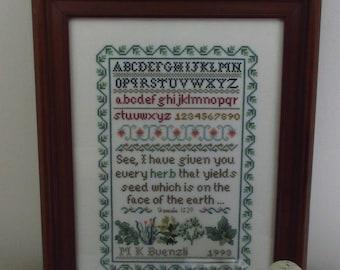 Vintage Framed Cross Stitch Sampler Herb Garden Gifts for Gardeners
