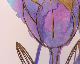 Acrylic Watercolor Tulip