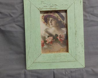 SHABBY ARCHITECTURAL Chic Salvaged Mint Green Recycled Wood Photo Picture Frame 4x6 125-17P