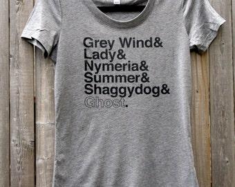 Game of Thrones Direwolves Names // Women's Scoop Neck Tee Shirt (Gray)