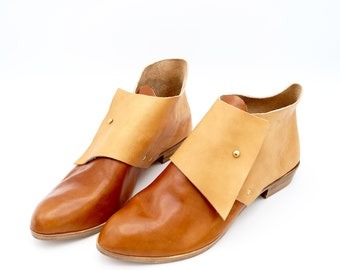 The Laura. Whiskey and Undyed. 2cm. Handmade Ankle Boots. Soft Shoes.
