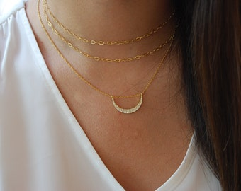 Moon necklace, Minimalist necklace, Sterling silver necklace, Dainty necklace, CZ necklace.