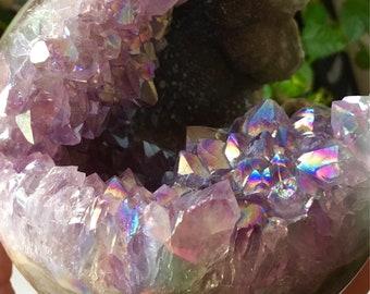LARGE Angel Aura Quartz Geode Sphere, Angel Geode Sphere, Amethyst Aura Crystal Sphere, Crystal Geode Sphere, very PRETTY sphere! - 7