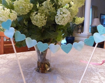 "Glittery Gradiated Green Teal  Blue 1"" Hearts -  Cake Topper Banner - Birthday, Wedding, Anniversary, Engagement, Party, Love, etc."
