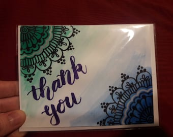 Hand painted Henna Thank you Card