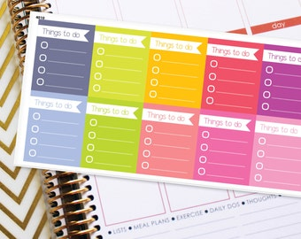Planner Stickers Erin Condren Life Planner (ECLP) - 10 Full Box Things to do Stickers (#4010)