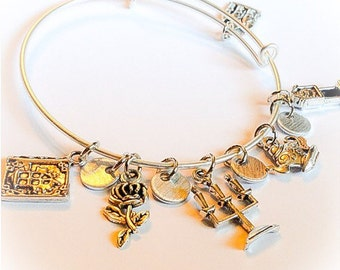 Beauty and the Beast, Beauty and the Beast jewelry, Disney inspired, Disney jewelry, Belle, Disney charms, Belle jewelry, Disney bangles
