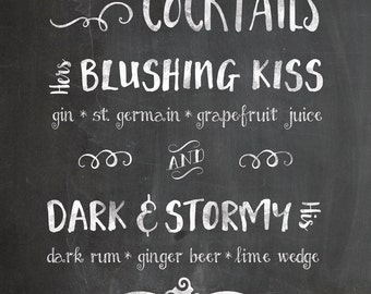 """Chalkboard Signature Drinks Sign for Wedding- Printable Digital File- 8x10"""", 11x14"""", 16x20"""" , His and Hers Drinks Sign, Rustic Chic"""