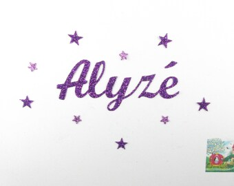 Applied fusible customizable glitter name 5 letters (example, Alyse) glitter fabric (colors)