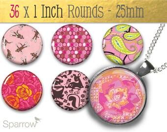 La Vie En Rose Pink Patterns - (1x1) One Inch (25mm) Round Pendant Images - Digital Sheet - Buy 2 Get 1 Free - Bottle Cap Images - Instant