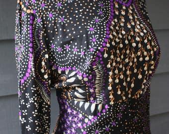 vintage | 1970s | dress | Holt Renfrew 1300 Collection | printed | floor length | high neck | ruffles | boho