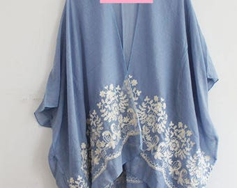 Blue Kimono with Flower Embroidery