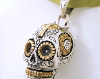 Sterling Silver Day Of The Dead Sugar Skull Pendant, Mexican Skull, Dia de Muertos,Mexican Silver,Mexian Day of the Dead,Halloween,Tattoo