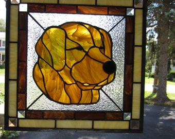 Golden Retriever Stained Glass Panel