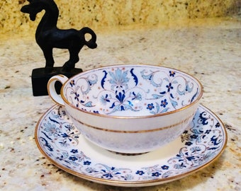 Minton's Cup and Saucer, Bone China Teacup, Mintons China Tea Cup, Blue Turquoise Gumps, San Francisco
