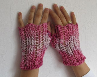 Knitted Fingerless Gloves (Wrist Warmers, Arm Warmers, Hand Knit, Fingerless mittens, Fingerless Mitts) - Pink