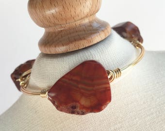 Agate Wire Wrapped Bangle, Wire Wrapped Bangle, Wire Bangle, Wire Wrapped Bracelet, Wire Wrap Bracelet, Gemstone Bangle