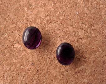 Faux Purple Stone Stud Earrings