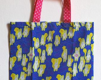 SALE !! Small cotton bag, blue, rabbit