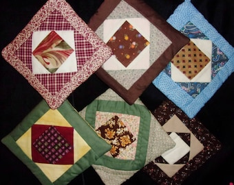 SALE Potholders PATCHWORK Group of 6, Close Out, Square in Square Traditional Quilt Pattern, Country Prima Ranch Decor, Hand Made in US