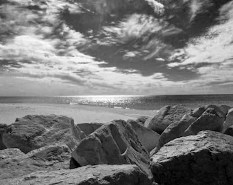 Black & White Lake Michigan Grand Haven Rock Formation Beach Sand Sky Quiet Fall Season Home Decor