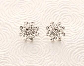 Snowflake Earrings, Bridal Earrings, Winter Wedding Earrings, Snowflake Bridal Jewelry, Rhinestone Snowflake Post Earring, Christmas Jewelry