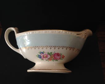 Vintage Homer Laughlin Eggshell Georgian Large Gravy Boat with Blue Floral C42 N5