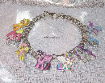 Custom One of a Kind OOAK My Little Pony Friendship is Magic Charm Bracelet by TorresDesigns - Collectible Gift - Ready to Ship