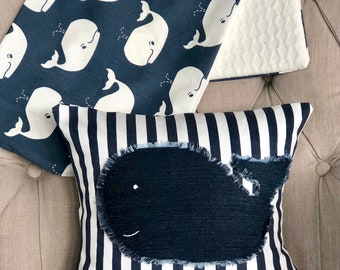 Whale Baby Decor/Whale Pillow and Runner Combo/Nursery Decor