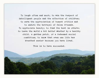 Inspirational gift for her, Emerson success quote, Blue Ridge Mountains, To laugh often and much... this is to have succeeded