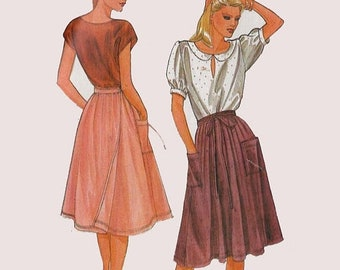 ON SALE Vintage 1970s Misses Back Wrap, Pleated Skirt, Waistband w/ Attached Tie Ends, Side Patch Pockets Vogue 7957 Size 16 Hip 40 UNCUT
