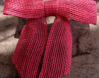 Red Burlap Bows - Pretied (12 pack)