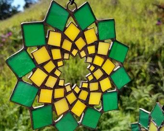 Sunflower Stained Glass Ornament Mandala