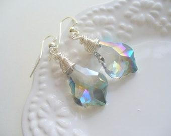 Green Sparkly Chandelier Earring, Wire Wrapped Earring, Teardrop Crystal Chandelier Earring, Drop Earrings, Green Jewelry, Dangle Earring