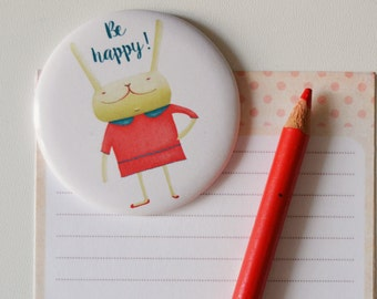 Illustrated Magnet - Magnetic Fridge illustrations, be happy