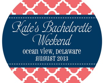 """20 Personalized Favor Label Stickers- 2"""" Round- Bachelorette Weekend"""