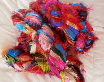 SALE 100 grams 1 skein recycled zari silk ribbon  knitting crochet craft embellishment yarn multi color metallic