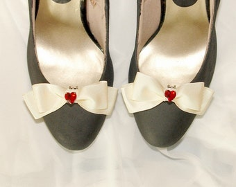 Shoe clips floral red bow angel cherub heart jewel ivory pink cameo customize shoes bridal party gold classic sweet lolita queens of hearts