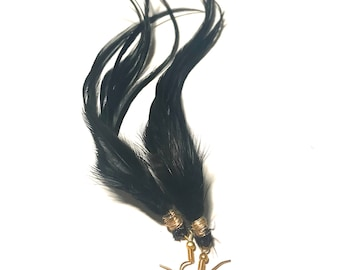 FREE SHIPPING Woodland Rooster Feather Earrings Black Gold Statement Earrings Boho Chic Bohemian Faerie Hippie