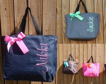 Personalized Tote Bags set of 3 Personalized Tote, Bridesmaids Gift, Monogrammed Tote