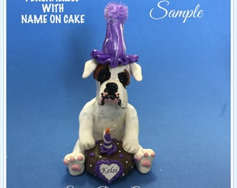 White Boxer BIRTHDAY dog - NAME on heart - OOAK Clay Cake Topper art by Sally's Bits of Clay Original Sculpture
