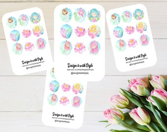 Planner Stickers, Travelers notebook Stickers, Watercolor Fairies Mini sheets