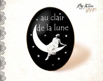 Ring Cabochon Cabochon earrings in the black fairy Moonlight star midnight white • •
